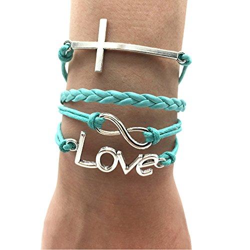 TimeLogo Infinity Charm Bracelet-Handmade Love and Cross Jesus Bracelet Christian Religion Bracelet Christian Gift for Women and Girls Children and Adult Sizing Gift (Blue)