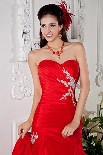 Meerjungfrau Faltungen BRIDE GEORGE Abendkleid rote Perlen Reizvolle Rot qx1xf8