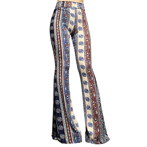 SMT Women's High Waist Wide Leg Long Bell Bottom Yoga Pants Small Vintage Cerulean Blue]()
