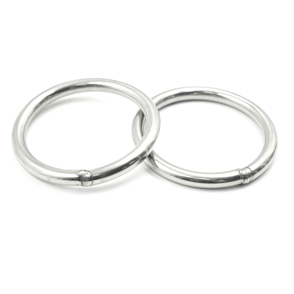 GooTon 8x80mm Stainless Steel Welded Ring 2Pcs