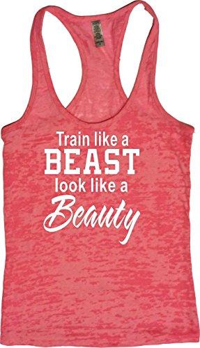 Price comparison product image Orange Arrow Women's Train Like Beast Look Like Beauty Burnout Tank (Small, Neon Pink)