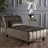 Rafaela | Living Room Chaise Lounge | Button Tufted | Corded | New Velvet in Grey For Sale