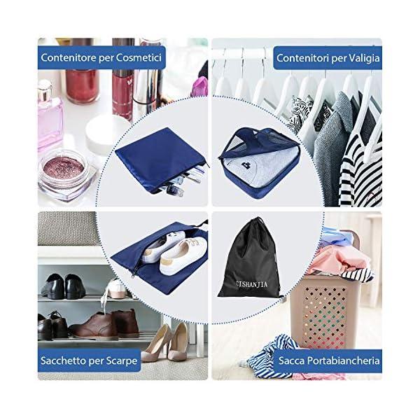 CISHANJIA Organizer Valigie Set di 7 Cubo di Viaggio Cubi di Imballaggio con Contenitore per Cosmetici, Sacca… 7 spesavip