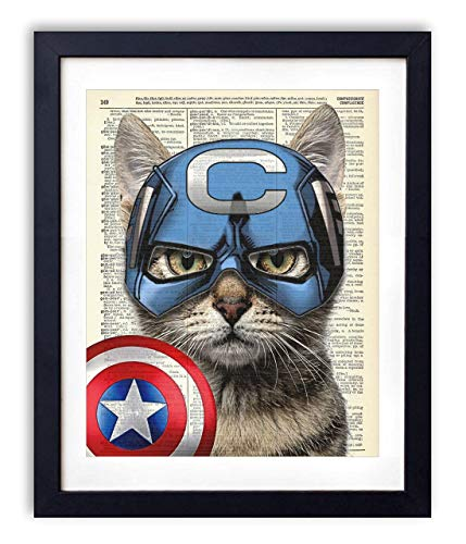 (Captain Cat America Super Hero Vintage Upcycled Dictionary Art Print - 8x10)