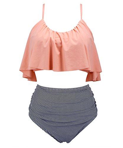 Seartist High Waisted Swimsuit For Women  Falbala Flounced Bikini Pink  S