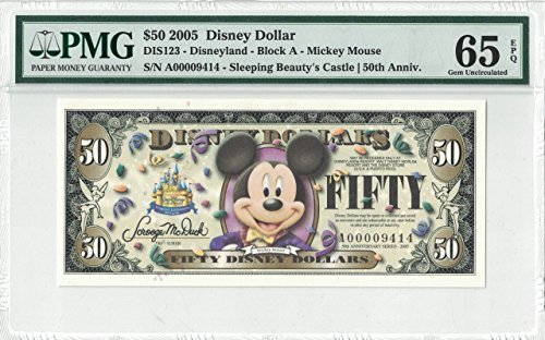 Disney Dollar 2005 A $50 Mickey Mouse A00009414 PMG 65 EPQ Gem (Pmg 65 Gem)