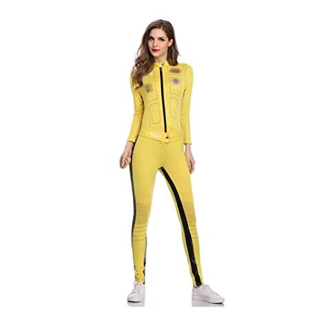 ZZUU Womens Disfraz De Kill Bill Amarillo,con Traje Entero ...