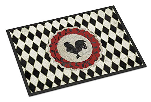 Caroline's Treasures Rooster Harlequin Black and White Indoor or Outdoor Mat, 24