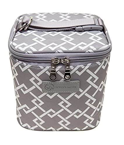 Black and White Sarah Wells Cold Gold Breastmilk Cooler Bag with Ice Pack