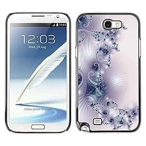QCASE / Samsung Note 2 N7100 / Modelo del papel pintado del arte luz púrpura blanco / Delgado Negro Plástico caso cubierta Shell Armor Funda Case Cover