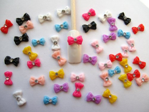 Nail Art 3d 45 Pieces Mix Bow/rhinestone for Nails