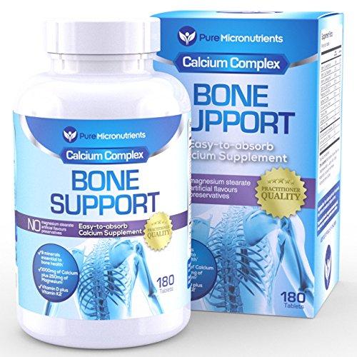 Soporte de hueso - suplemento de calcio con citrato y la hidroxiapatita de calcio 1000mg + magnesio, K2, vitamina D3 y más, 180 comprimidos