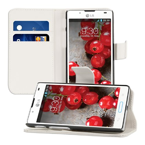 kwmobile® Elegant leather case for the LG Optimus L7 II P710 with magnetic fastener and stand function in White