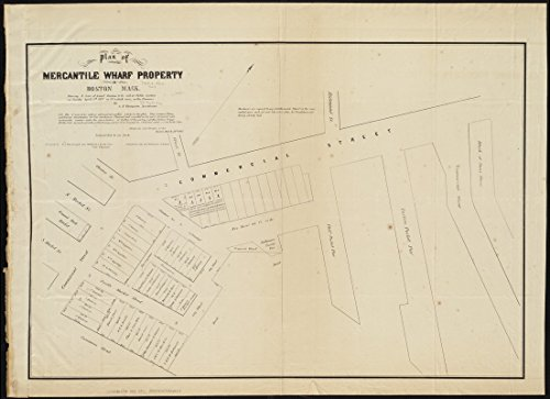 Historic Map   1855 Plan Of Mercantile Wharf Property In Boston Mass   Showing 5 Lots Of Land Thereon To Be Sold At Public Auction On Tuesday April 3Rd 1855   Antique Vintage Reproduction