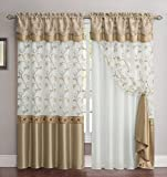 2 Panel Window Curtain Drapery Panel Set: Double-Layer, Solid Color Back with Embroidered Sheer Top and Valance, 110″x90″, Gold and White