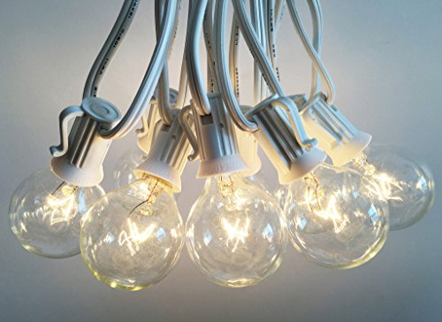 Outdoor Light String 100ft Globe Patio String Lights - 100 foot White Light Strings w/ Clear G40 bulbs UL Edison Lights include spares (Outdoor White Globe Lights)
