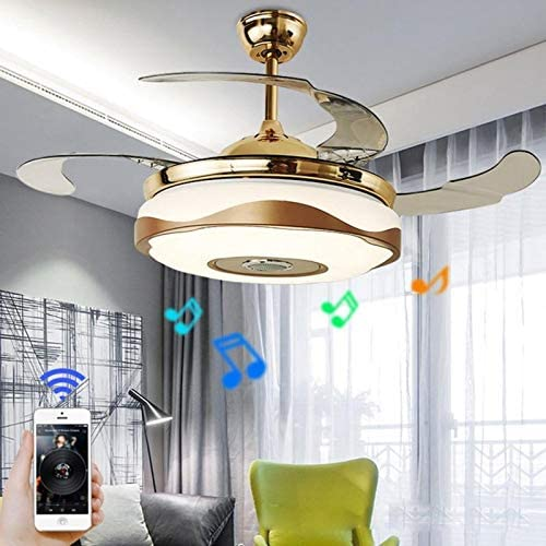 36inch Modern Retractable 4 Blades Ceiling Fan with Light and Remote,7 Color Dimmable with Bluetooth Speaker Music Ceiling Light,for Home Decration 36inch