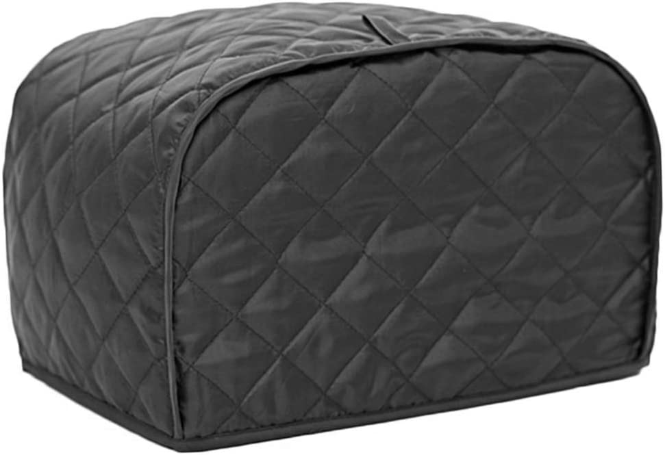 Toaster Cover Splashproof Kitchen Protective Foldable Home Household Dustproof Quilted Easy Storage With Loop Thick Solid Machine Washable(SBlack)