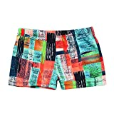 Beew Boy's Swim Trunks Swimwear Beachwear Breathable Quick Dry Color Striped Printed Sportwear Casual Beach (L, Orange)