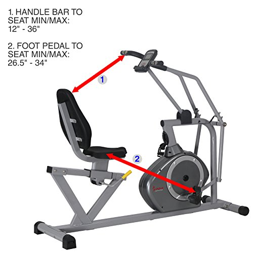 Sunny Health & Fitness Magnetic Recumbent Bike Exercise Bike, 350lb High Weight Capacity, Cross Training, Arm Exercisers, Monitor, Pulse Rate Monitoring SF RB4708