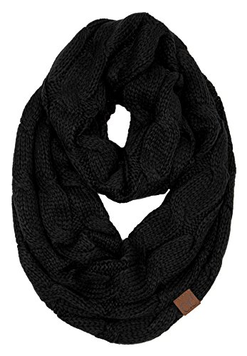 (S1-6100-06 Funky Junque Infinity Scarf - Black (Solid))