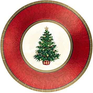 Amscan Classic Christmas Tree Round Metallic Dinner Paper Plates Party Disposable Tableware (8 Piece)  sc 1 st  Amazon.com & Amazon.com: Amscan Classic Christmas Tree Round Metallic Dinner ...