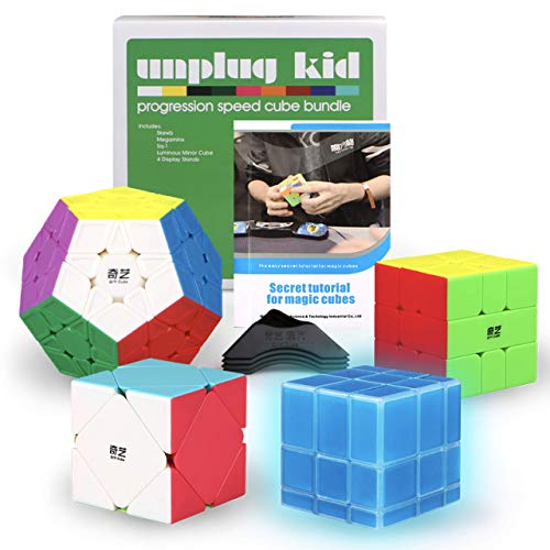 Unplugkid QiYi MoFangGe Stickerless Speed Cube Set - Certified QiYi WCA Quality Competition Speed Cube Bundle | Glow in the Dark Mirror Cube Megaminx Skewb Square 1 | 4 Display Stands, Strategy Guide