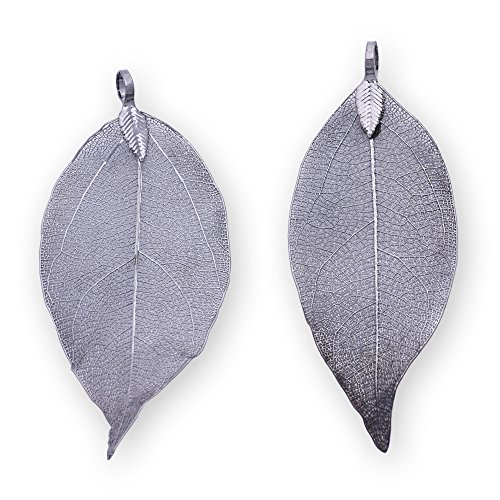 - 2pcs Fashion Electroplated Leaf Pendant,Filigree Leaf Charm,Natural Real Leaf Jewelry Making,Gun Black