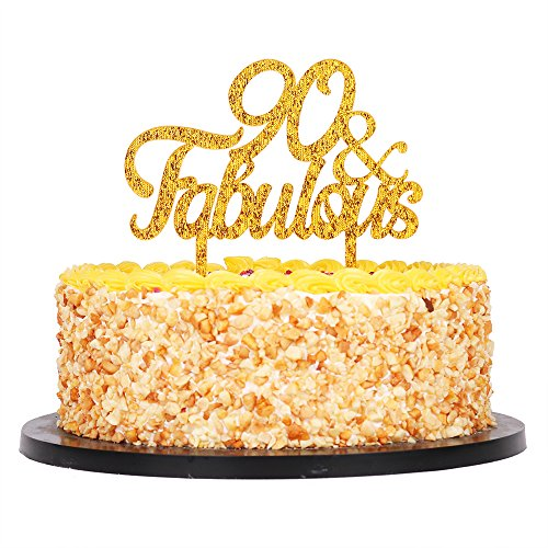 QIYNAO Gold Premium Quality Acrylic 90 Fabulous Cake Topper Happy 90th Birthday Anniversary Party Decoration