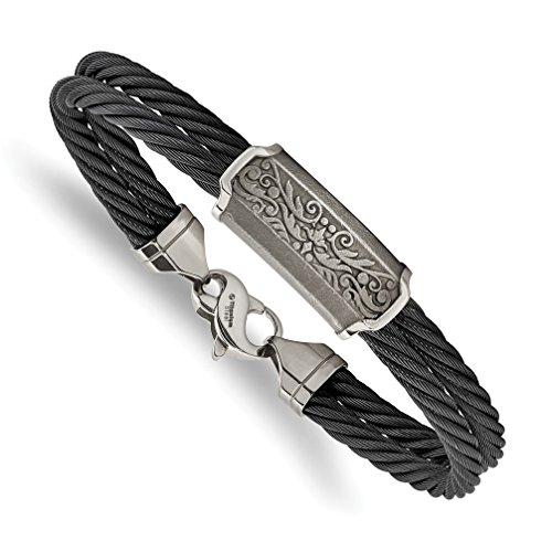 Men's Black Memory Cable Titanium Bracelet, 8'' by The Men's Jewelry Store