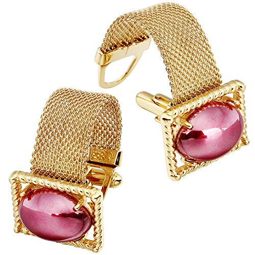 HAWSON Mens Cufflinks with Chain - Stone and Shiny Gold Tone Shirt Accessories - Party Gifts for Young Men (Rose Imitation Pearl)