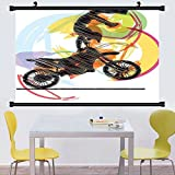 chopper wall scroll - Gzhihine Wall Scroll Motorcycle Decor Wall Hanging Art with Chopper Motorcycle Biker Riding Under Starry Night Sky Cityscape Silhouette Decor Black Navy 35