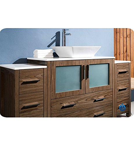 "picture of Fresca Torino 60"" Walnut Brown Modern Bathroom Vanity w/ 2 Side Cabinets & Vessel Sink"