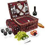 Wicker Picnic Basket | 4 Person Vintage Style Woven Willow Picnic Hamper with Blanket | Built-in Cooler | Ceramic Plates, Stainless Steel Silverware, Wine Glasses, S/P Shakers, Bottle Opener (Birch)