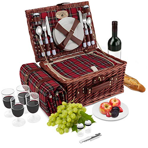 - Wicker Picnic Basket | 4 Person Vintage Style Woven Willow Picnic Hamper with Blanket | Built-in Cooler | Ceramic Plates, Stainless Steel Silverware, Wine Glasses, S/P Shakers, Bottle Opener (Birch)