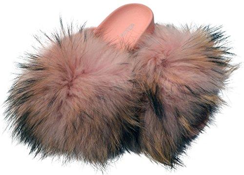 Ezstep Womens Roxy Flip Flop Natural Fur Slide On Flats Sandals Pink GrJ5C