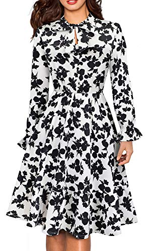 HOMEYEE Women's Long Sleeve Casual Polka Dot Aline Swing Dress A130 (6, White+Black Floral)