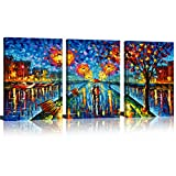painting a bedroom  A Couple Walking on Street Oil Painting Picture Printed Artwork Modern Wall Art Umbrella Painting 16inchx24inchx3pcs