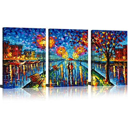 SUNRISE ART- A Couple Walking on Street Oil Painting Picture Printed Artwork Modern Wall Art Umbrella Painting 16x24x3