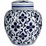 "Blue & White Aline Jar w/ Lid 6""x8"""