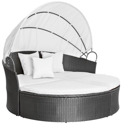 Polyrattan Sonneninsel Lounge Liege Farbwahl inkl. Kissen Sitzauflage Sonnendach
