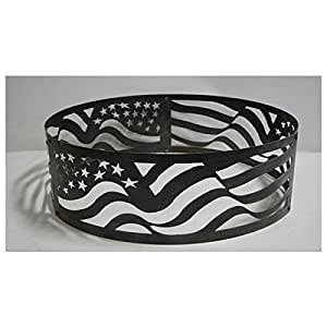 PD Metals Steel Campfire Fire Ring American Flag Design - Large 48 d x 12 h Plus Free eGuide