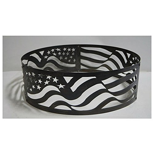 PD Metals Steel Campfire Fire Ring American Flag Design - Unpainted - Medium 38 d x 12 h Plus Free -