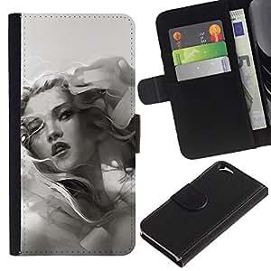 JackGot ( Grayscale Girl ) Apple Apple (4.7 inches!!!) iPhone 6 / 6S la tarjeta de Crédito Slots PU Funda de cuero Monedero caso cubierta de piel