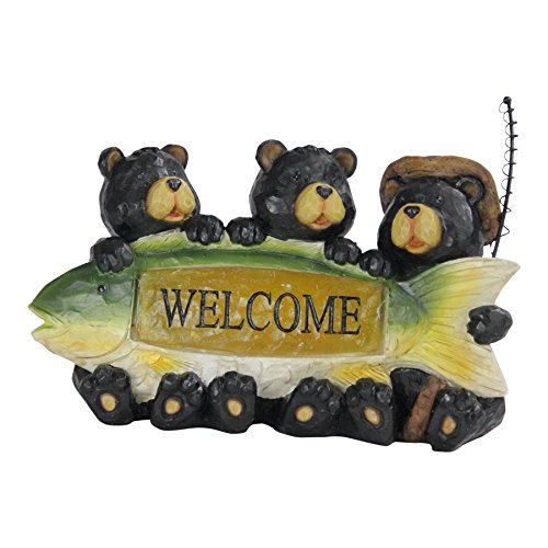 Exhart Bear Welcome Sign Garden Statue – Three Bears Who Love to Fish - Resin Statue w/Solar Powered Welcome Light - an Animal Statue for Garden Décor