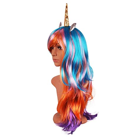 Amazon.com: Cosplay Long Curly Wig Halloween Unicorn Colorful Wig Festive Magic Pony Princess Cloud Anime Wig: Beauty
