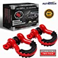 "AUTMATCH Shackles 3/4"" D Ring Shackle (2 Pack) 41,887Ib Break Strength with 7/8"" Screw Pin and Shackle Isolator & Washers Kit for Tow Strap Winch Off Road Towing Accessory Jeep Vehicle Recovery"