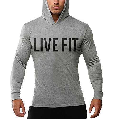 Chns Men's Gym Workout Bodybuilding Long Sleeve Casual Hoodie Sweatshirts Live Fit Letter Printed Training Sports Pullover Gray-XL Athletic Long Sleeve Sweater