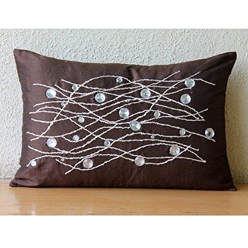 Handmade Brown Lumbar Pillow Cover, Crystals Sparkly Pillows