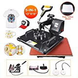 Power Heat Press Machine 12' X 15' Professional Swing Away Heat Transfer 5 in 1 Digital Sublimation 360-Degree Rotation Multifunction Combo for T-Shirt Mugs Hat Plate Cap